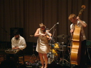 Stef Schneider, Sarah Neufeld, and Richard Reed Parry of Bell Orchestre